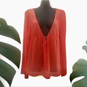 Just Jeans Sheer Orange Top Long Sleeve Deep V Neckline clear crystal detail